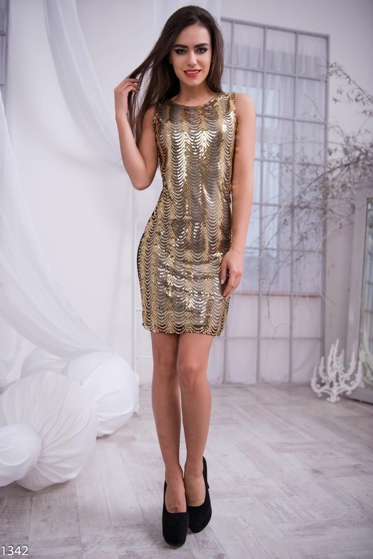 Платье паетки золотые