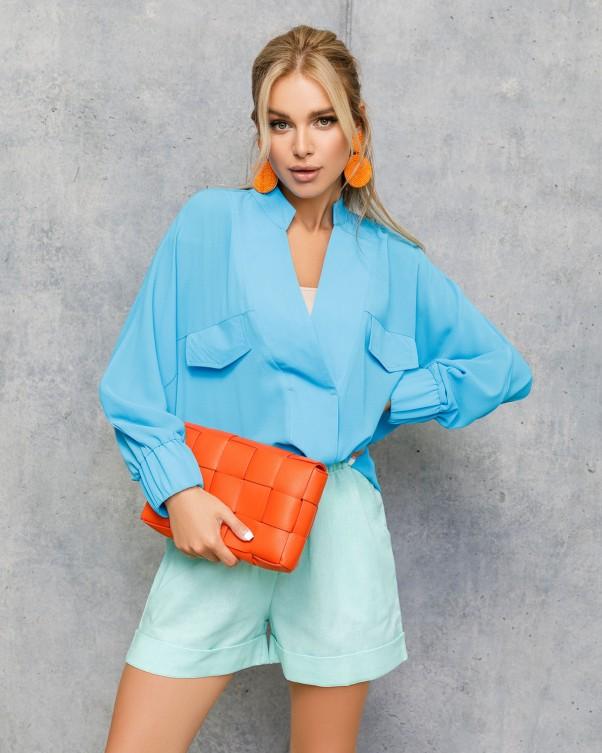 Блузы ISSA PLUS 12709  S голубой