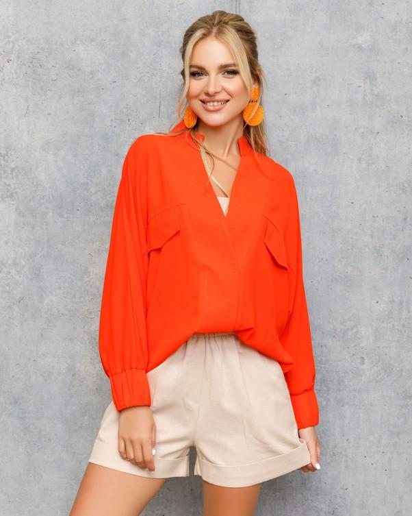Блузы ISSA PLUS 12709  S коралловый