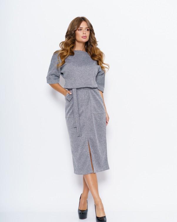 Платья ISSA PLUS 11055  S серый